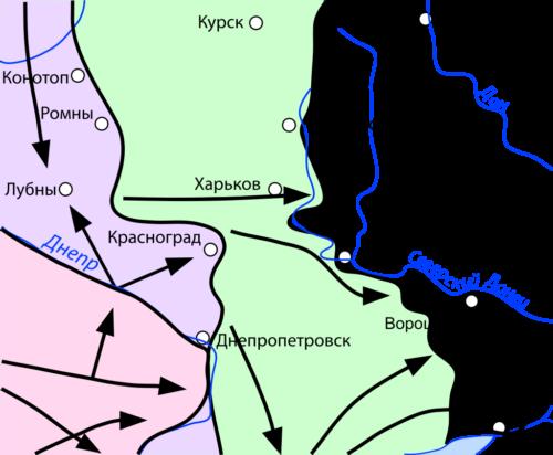 Карта боевых действий на Восточной Украине осенью 1941 г.