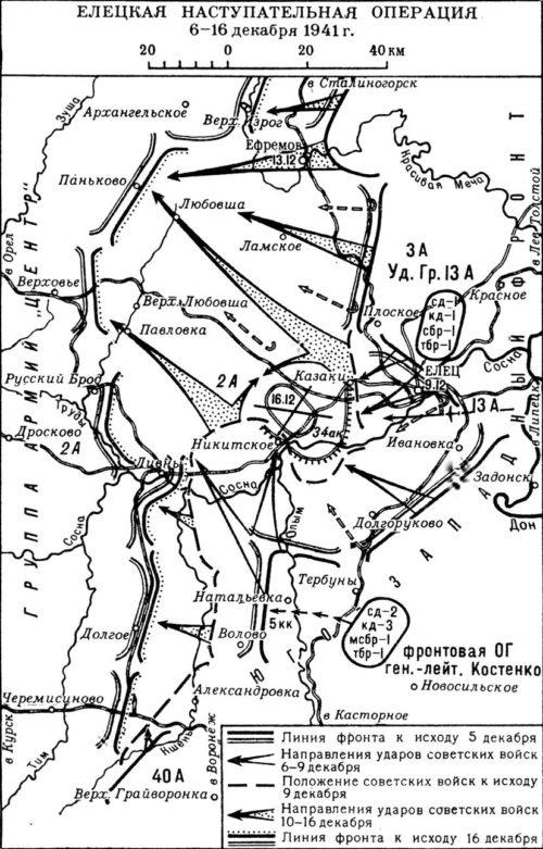 Карта-схема Елецкой наступательной операции.