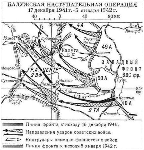 Карта-схема Калужской наступательной операции.
