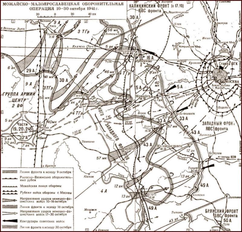 Карта-схема Можайско-Малоярославецкой оборонительной операции.