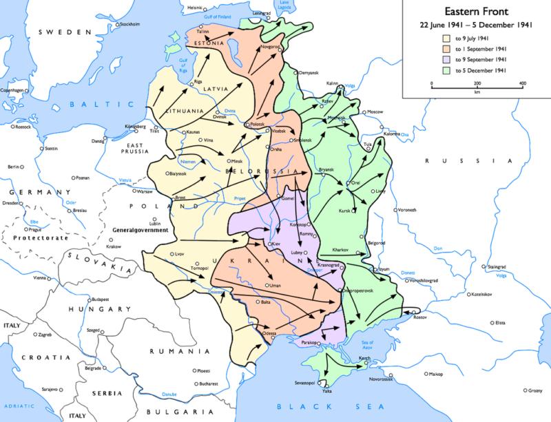 Карта Восточного фронта во время битвы под Москвой.