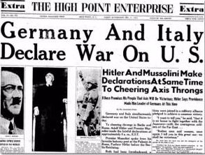 Сообщения в прессе о начале войны с США.