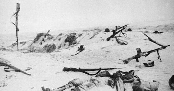 Поле боя, оставленное немцами.