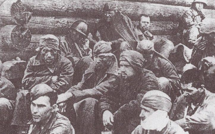 Советские военнопленные, захваченные на р.Тосне.