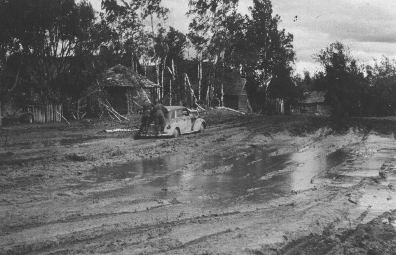 Распутица на дорогах, осень 1941.