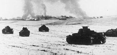 Немецкие танки атакуют советские позиции в районе Истры.