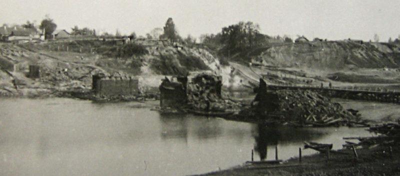 Уничтоженный мост через Днепр. 1941 г.