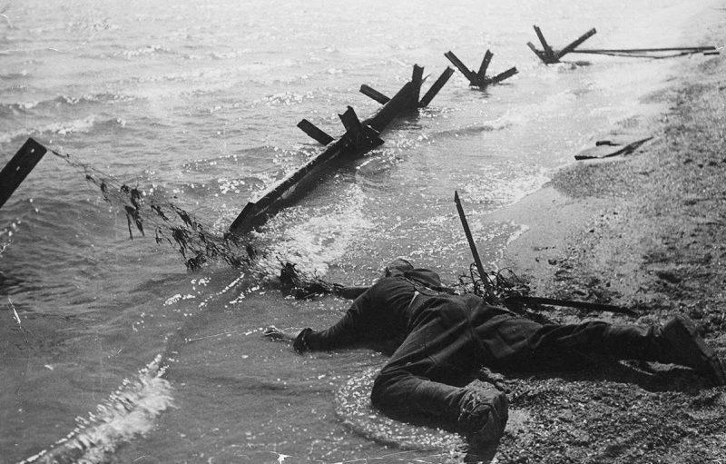 Павший красноармеец на берегу Волги. 1942 г.