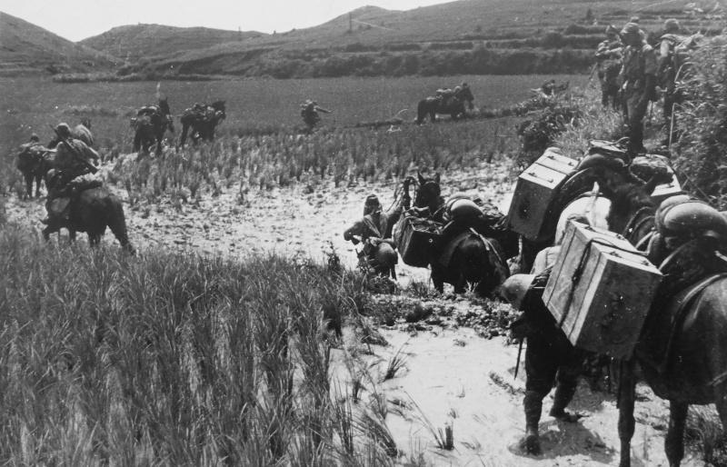 Вьючный обоз японской армии в китайской провинции Хунань. Сентябрь 1941 г.
