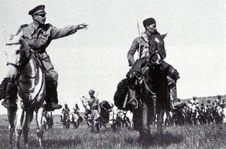 Лейтенант Амедео Гийе с кавалерией Амхара в Восточно-Африканском театре.