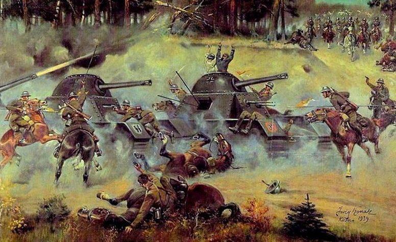Художник Kossak Jerzy. Битва под Кутно в 1939 г.