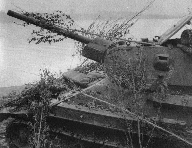 Замаскированный советский танк Т-34-76 на восточном берегу Волги. Июль 1942 г.