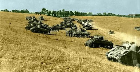 Концентрация танков для атаки Бретвиль-ле-Рабе, Нормандия.14 августа 1944 г.
