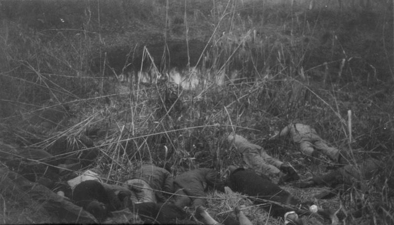 Казненные японскими солдатами китайские мирные жители в лесу в окрестностях Нанкина. Декабрь 1937 г.