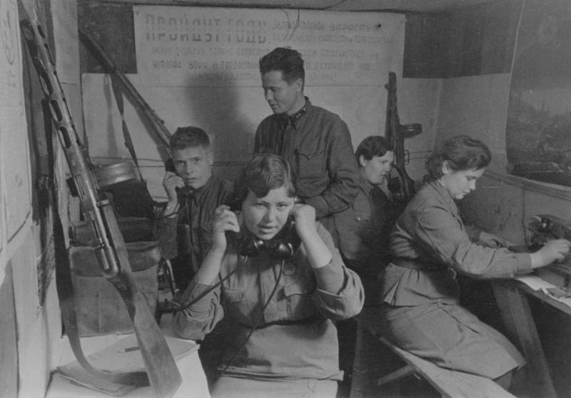 Узел связи Красной Армии в Сталинграде. Август 1942 г.