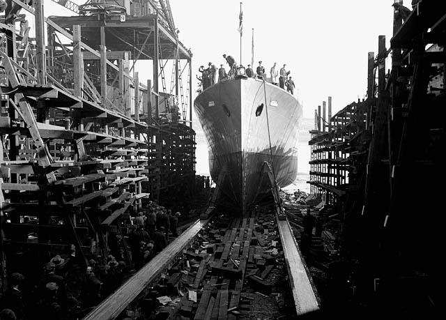 Спуск фрегата «Торонто» на воду. Квебек, сентябрь 1943 г.
