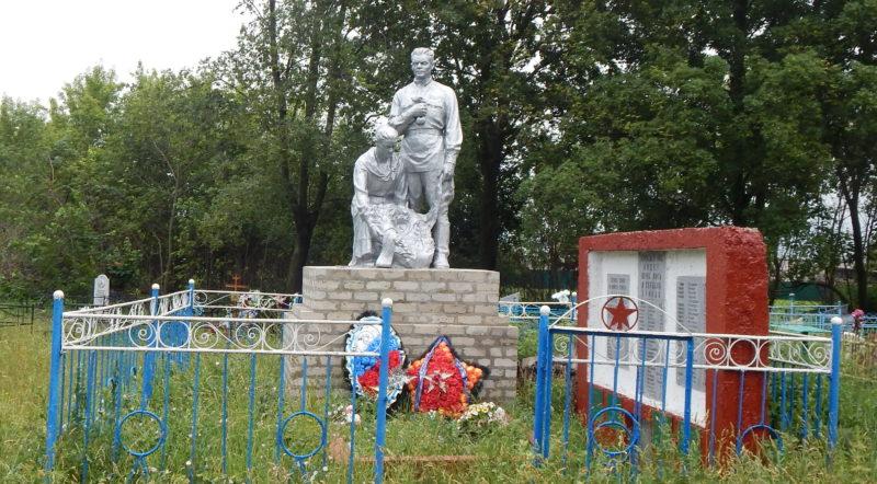 д. Семеновка Щигровского р-на. Памятник, установленный в 1958 году на братской могиле, в которой похоронено 113 мирных жителей и партизан, казненных оккупантами.