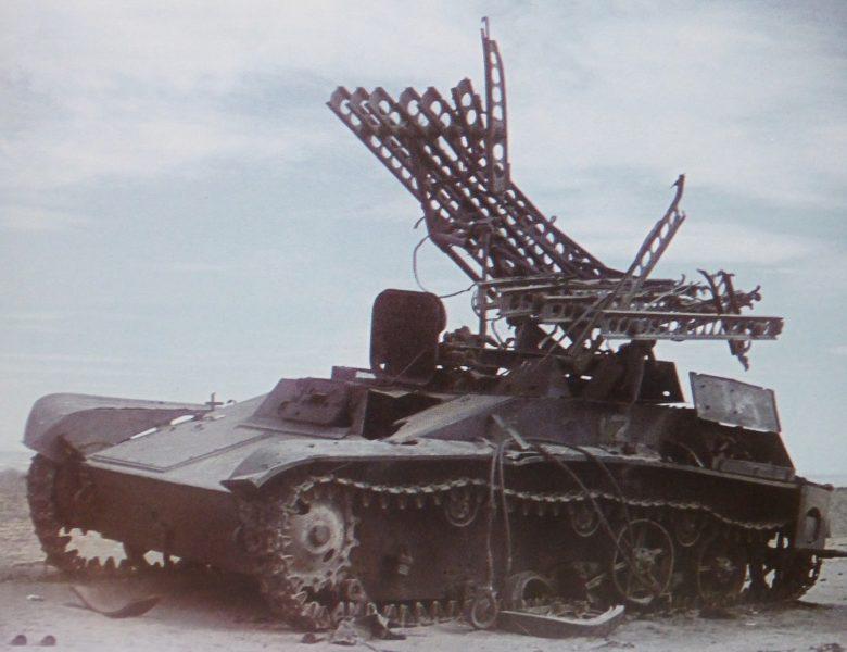 Уничтоженная советская реактивная установка залпового огня БМ-8-24 на шасси танка Т-60. Октябрь 1942 г.