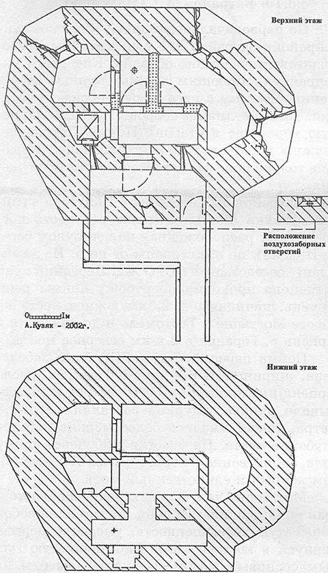 План и общий вид ДОТа №456, входящего в БРО №2.