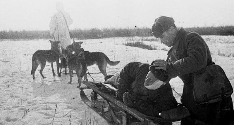 Отправка раненого в медсанбат. Декабрь 1942 г.