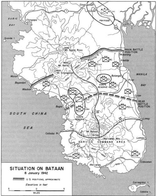 Расстановка сил на Батане на 8 января 1942 г.