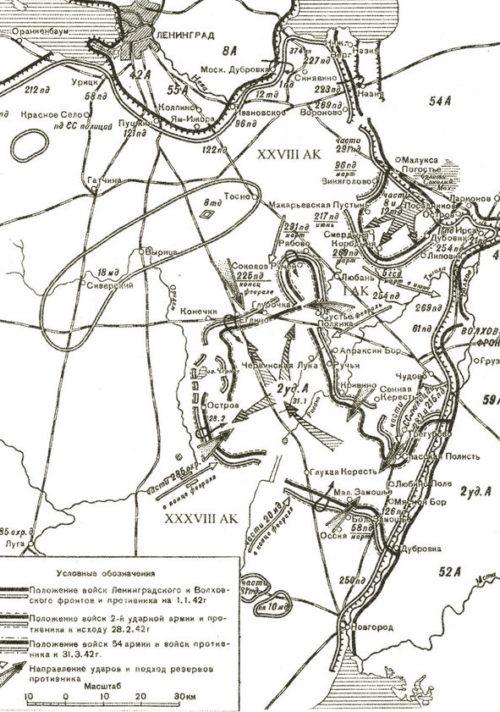 Карта-схема Любаньской операции.