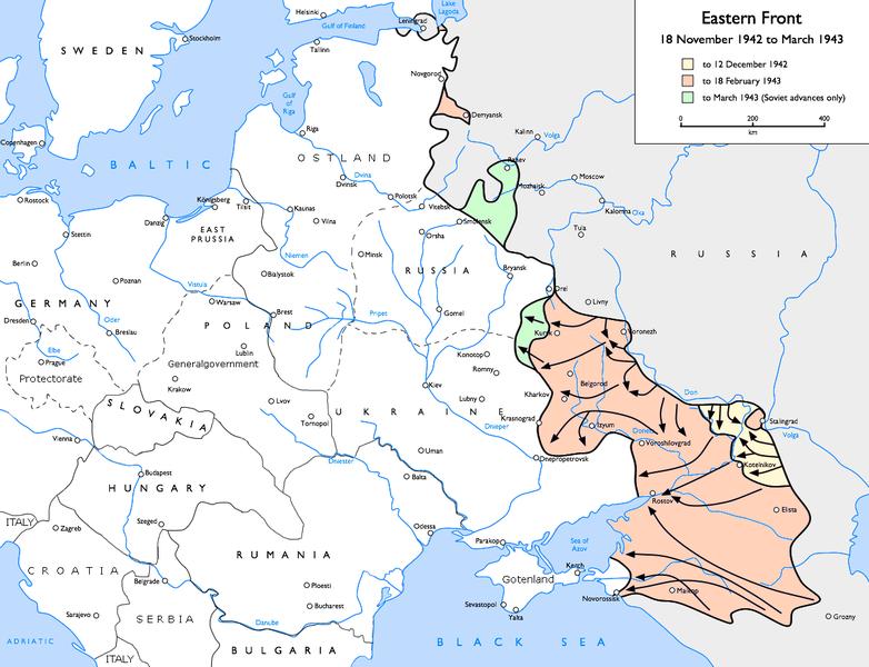 Ситуация на советско-германском фронте в ноябре 1942 - феврале 1943 г.