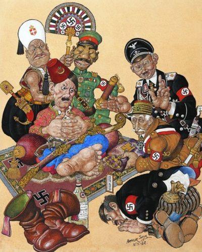 Американские карикатуры на Гитлера и его союзников того времени.