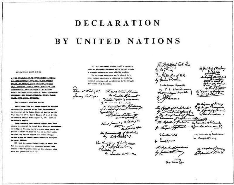Декларация ООН и с подписями представителей 26 стран.