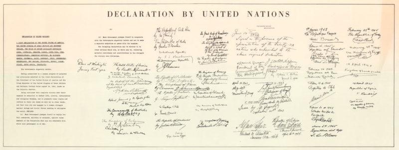 Декларация ООН с подписями присоединившихся стран.