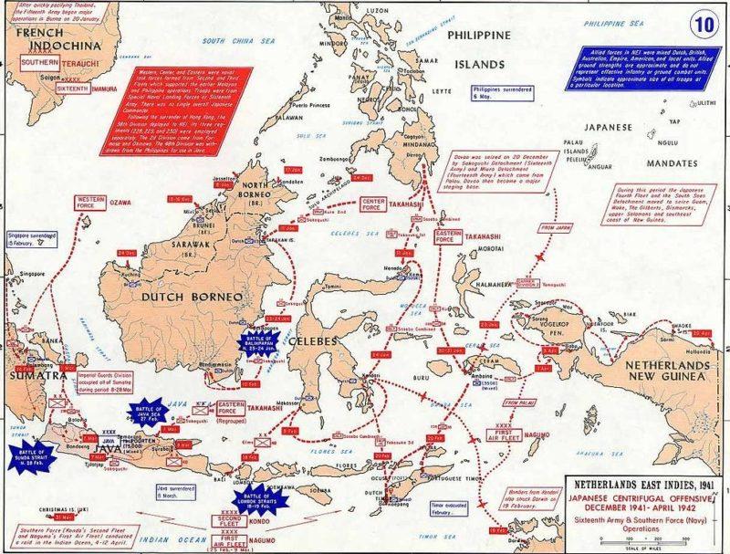 Боевые действия в Голландской Ост-Индии, на северном Борнео и в Сараваке.