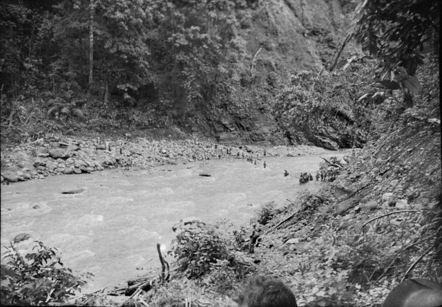 Австралийские солдаты, отступающие от Рабаула, пересекают реку Варангой.