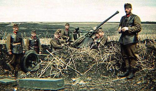 Расчет зенитного орудия на Восточном фронте. 1943 г.