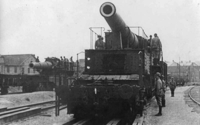 Французское 340-мм орудие на железнодорожном транспортере. 1939 г.