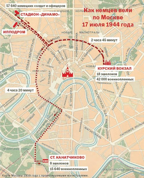 Схема маршрута немецкого марша в Москве.
