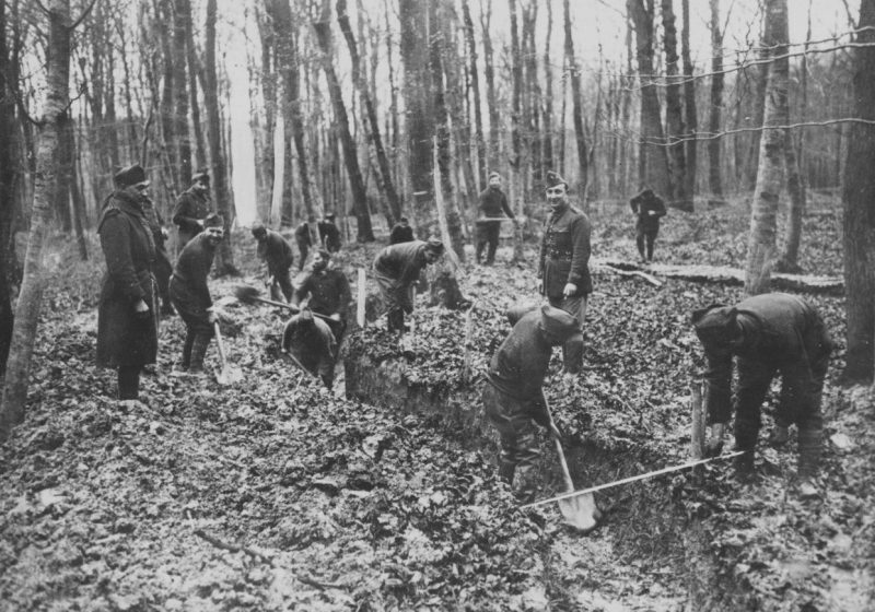 Французские солдаты роют окопы в лесу на Западном фронте. Осень 1939 г.