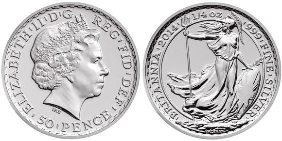Серебряная монета 50 пенсов.