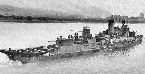 Венгерский речной корабль «Дьёр» на Дунае. 1944 г.
