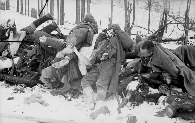 Горы замерших трупов немецких солдат в «котле» ожидают весны. Февраль 1942 г.