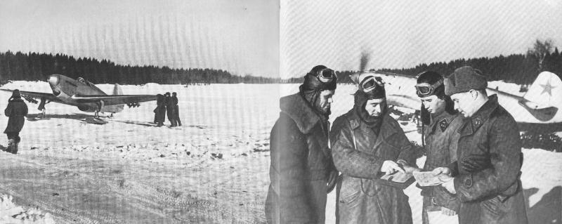 Летчики-истребители на аэродроме в районе Можайска. Январь 1942 г.