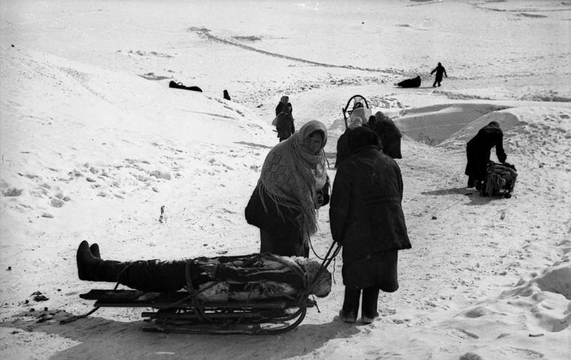 Местное население вывозит тела погибших на кладбище на окраину города. Февраль 1942 г.
