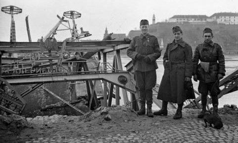 Венгерские солдаты у разрушенного моста через Дунай в югославском городе Нови-Сад. Апрель 1941 г.