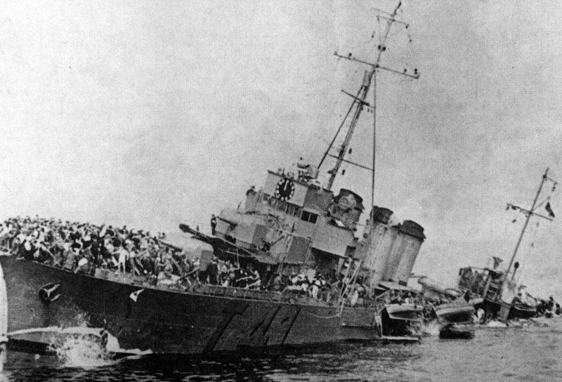 Затонувший эсминец «Bourrasque» во время операции Динамо. 29 мая 1940 г.