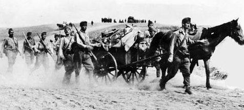 Гужевой транспорт Венгерской армии на Донском фронте. 1942 г.