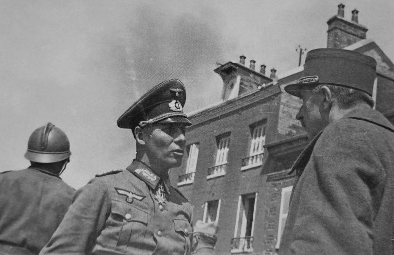 Эрвин Роммель с пленным французским генералом Марселем Илером. Нормандия, 12 июня 1940 г.
