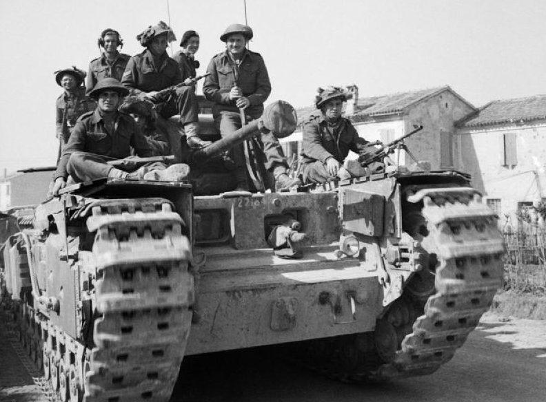 Британские войска в секторе Меццано-Альфонсине. 14 марта 1945 г.