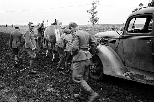 Лошади тянут сломанный грузовик «Форд» на Восточном фронте. 1942 г.