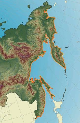 На карте восточного побережья СССР оранжевой линией обозначена протяженность Тихоокеанского вала.