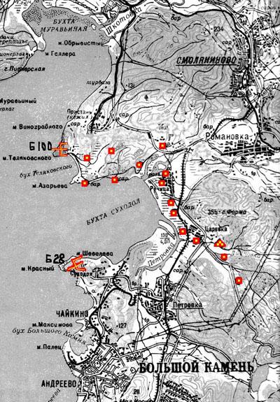 Общая схема Шкотовского укреплённого сектора.