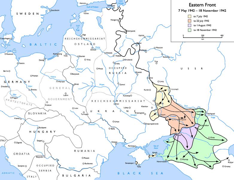 Действия немецких войск в мае-ноябре 1942 года.